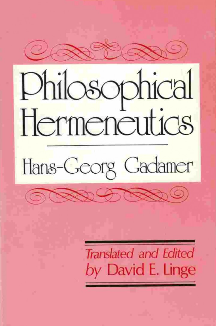 Hans-Georg Gadamer Aesthetics and Hermeneutics
