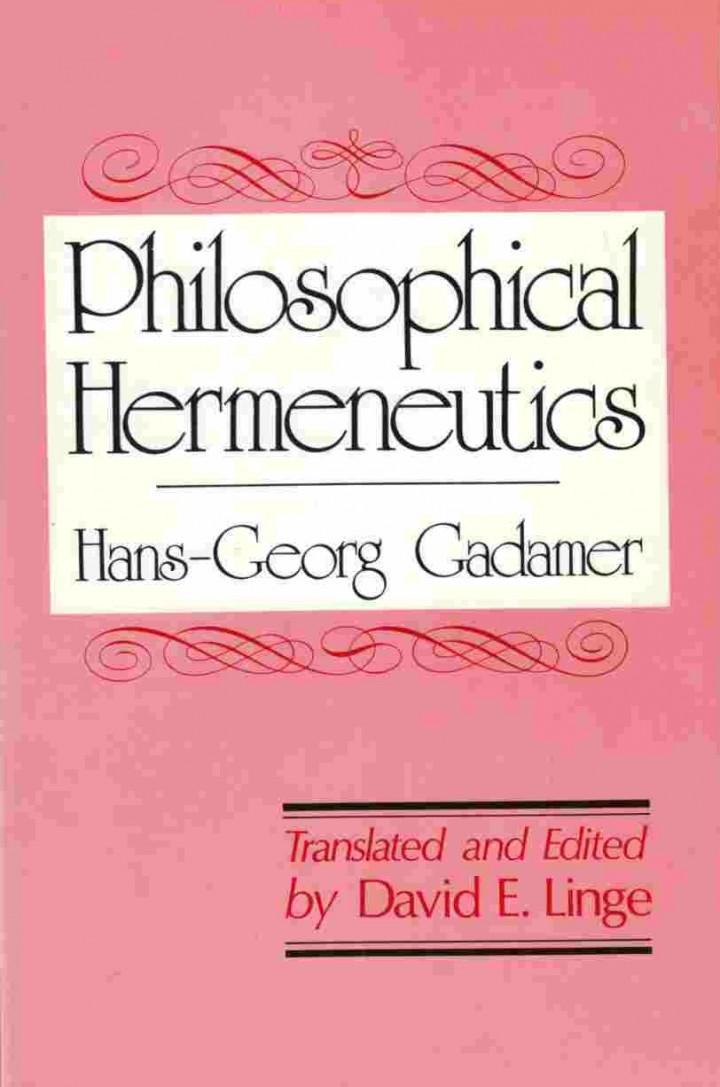 Hans-Georg Gadamer Aesthetics and Hermeneutics