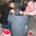 Someone decided it would be fun to see how long you can hold your hand in keg ice