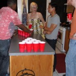 Someone had never played beer pong before and paid dearly