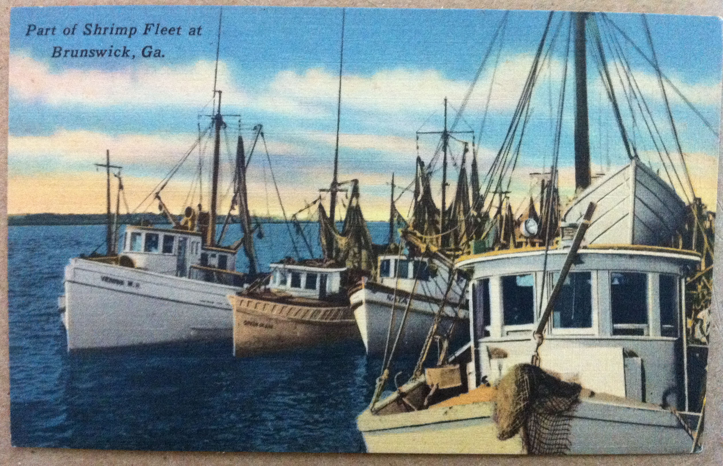 August 7th Postcard - Shrimp Fleet in Brunswick GA